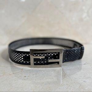 Fendi Black and Clear Patent Leather Belt